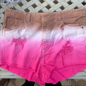 H&M ombré colored high waisted shorts